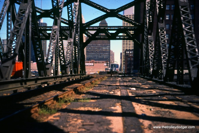 The CTA bridge over the Chicago & North Western, used by the Lake-Dan Ryan line, in September 1977.