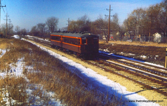CTA historic cars 4271-4272 on the Skokie Swift on December 11, 1976.
