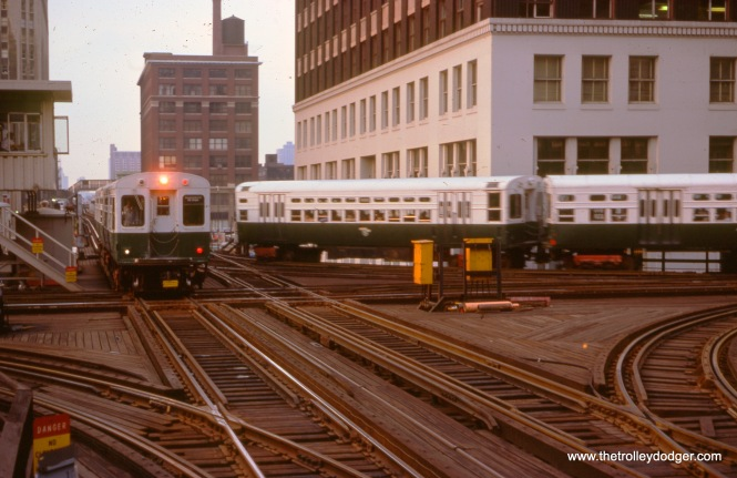 The CTA junction of Lake and Wells, by Tower 18, on September 13, 1976.