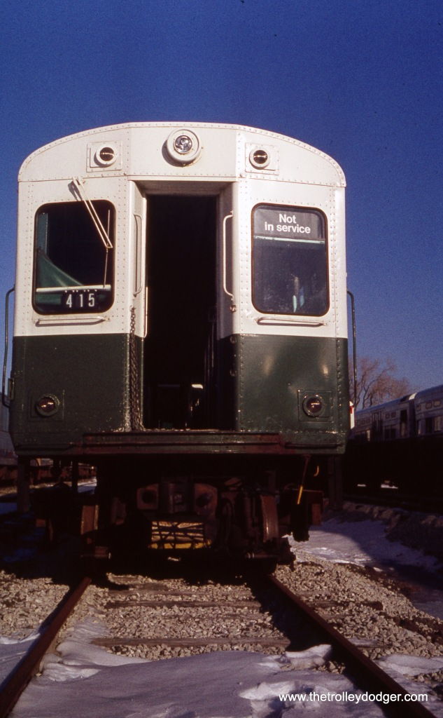"A CTA 6000-series ""L"" car at Skokie Shops on December 11, 1976."
