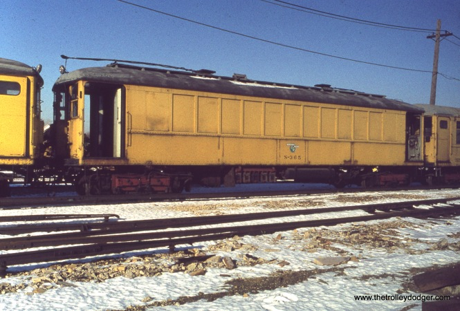 CTA MoW car S-365 at Skokie Shops on December 11, 1976.