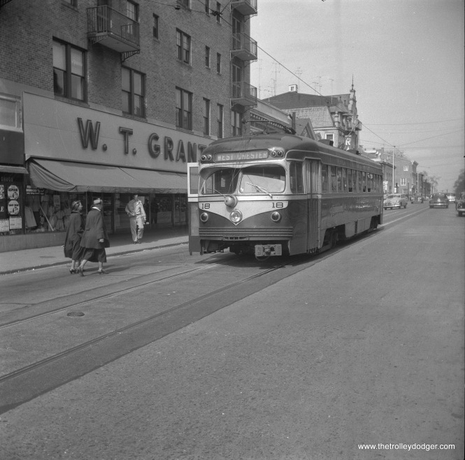 Philadelphia Suburban Transportation Company (aka Red Arrow Lines) car 18, a double-ended product of St. Louis Car Company that closely resembled a PCC but had conventional running gear, at the end of the line in West Chester. Rail service on this long interurban line was replaced by buses in June 1954.