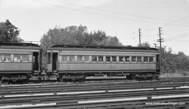 Chicago Aurora & Elgin car 50 (with 44 at left) at the Wheaton yards on September 13, 1953. (Robert Selle Photo)