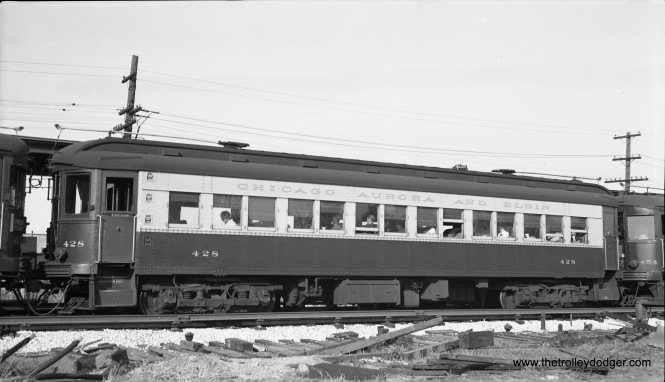 Chicago Aurora & Elgin car 428 at the Forest Park loop at DesPlaines Avenue on October 10, 1953. Less than a month earlier, CA&E trains stopped running downtown, and a new terminal arrangement was hurriedly put into use, so riders could switch between CA&E and CTA trains. (Robert Selle Photo)