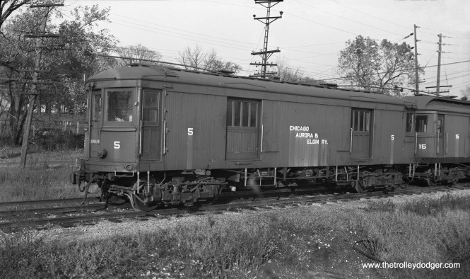 Chicago Aurora & Elgin interurban box motor 5 at Wheaton in 1949.