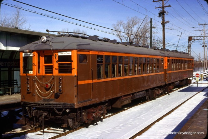 On March 2, 1980, photographer Arthur H. Peterson snapped this picture of CTA Historic Cars 4271-4272 at the Dempster terminal in Skokie. The occasion was a fantrip.