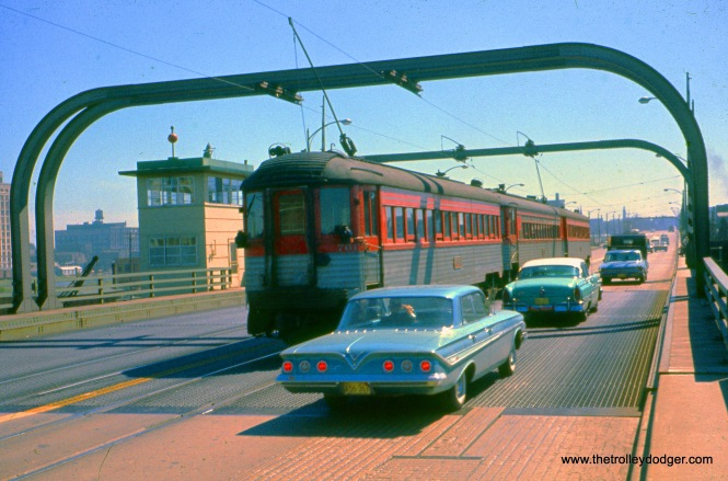 CNS&M 761 is at the back end of a southbound train on the old Sixth Street Viaduct in September 1961.