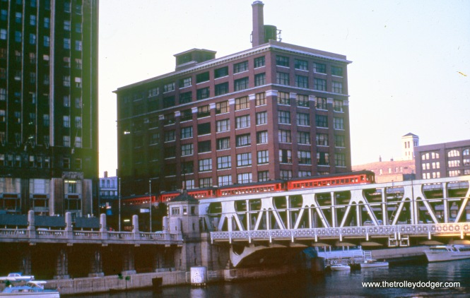 Crossing the Chicago River just north of the Loop in July 1962.