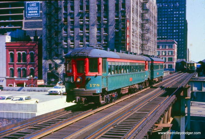 NSL 178 heads up a two-car train on Chicago's Loop
