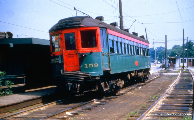 NSL 159 on the Shore Line Route, July 17, 1955. (Joseph Canfield Photo)