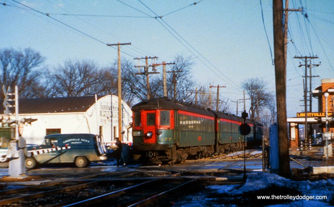 NSL 177 heads up a two-car train at Libertyville on February 22, 1959. (Joseph Canfield Photo)