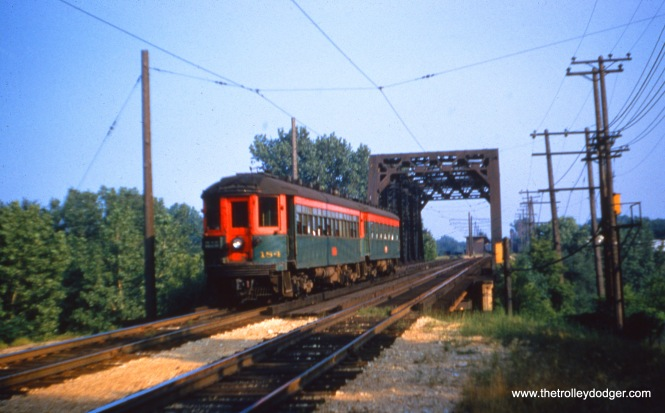 That looks like NSL 154 at the head of a train crossing the same bridge on July 20, 1955. (Joseph Canfield Photo)