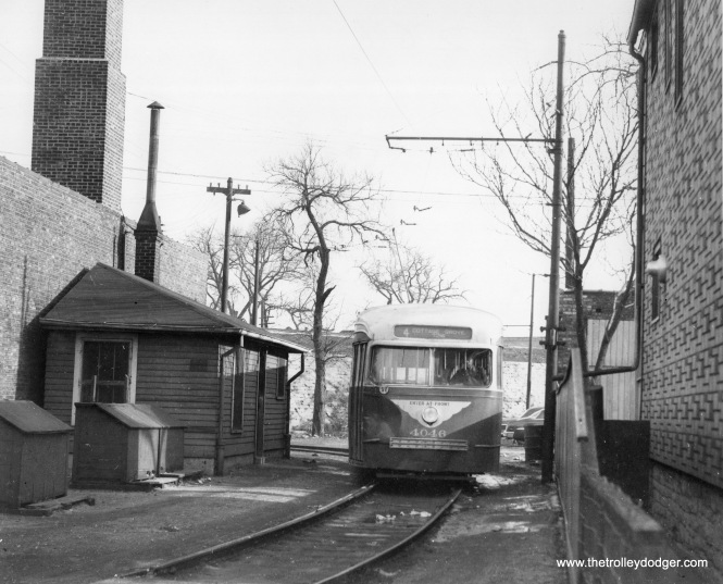 CTA prewar PCC 4046 is at a loop located at 72nd and Cottage Grove, circa 1952-55 when these cars were used on Route 4.