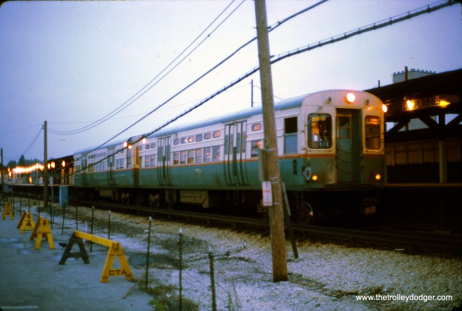 A two-car train of CTA 6000s in August 1970 at the DesPlaines Avenue terminal of what is now the Blue Line in Forest Park. This was the circa 1959 version of this terminal, which has since been replaced.