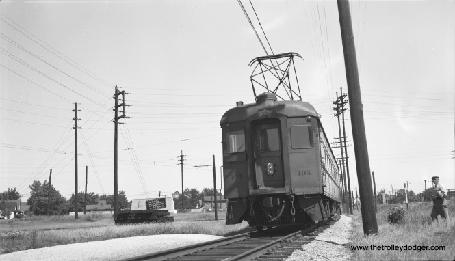 South Shore Line #105 is at Bendix in South Bend, headed east, on July 6, 1953. In 1970, service was cut back to here, but has since been extended to a local airport. There are plans afoot to once again bring trains to downtown South Bend, but on private right-of-way. (Robert Selle Photo)