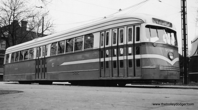 CSL 4018 in an experimental paint scheme circa 1945-46. This is the Madison-Austin loop, west end of Route 20.