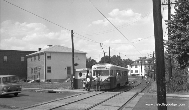 "In this undated (probably late 1960s) photo taken on the Red Arrow Lines in suburban Philadelphia, Brilliner 10 appears to be changing ends. It is signed for the Media route, although this is not the end of that line. Perhaps there was track work going on. Matthew Nawn adds, ""The photo of Red Arrow Lines #10 was taken at the Penn Street stop in Clifton Heights, PA. This is a stop on the Sharon Hill Line."""