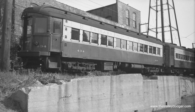 CA&E car 434 at an unidentified terminal. possibly Elgin.