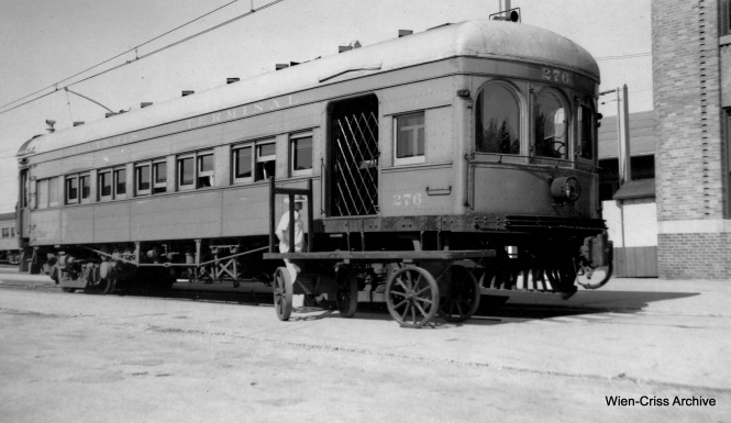 "Don's Rail Photos: ""276 was built by St Louis Car in 1913. It was air conditioned and the arch windows were covered. It was sold for scrap to Compressed Steel Co on March 13, 1956."""