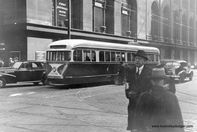 In 1938, a visitor to Chicago from the Soviet Union snapped this picture of Chicago PCC 4032 running on route 20 - Madison downtown, and brought it home. Now, more than 80 years later, it has returned to Chicago.