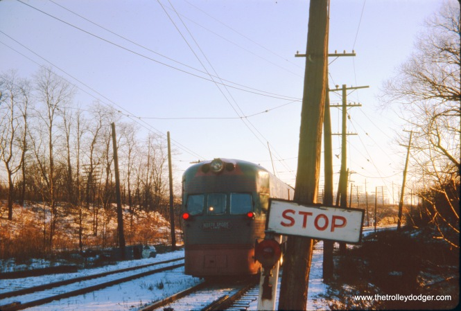 A North Shore Line Electroliner on December 28, 1962, less than a month before the end of the line for this interurban.