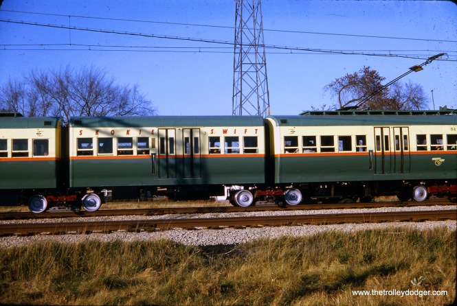 CTA articulated car set 51 (formerly 5001) found new life on the Skokie Swift after being oddball equipment on other lines, along with its three mates. Here, they are seen on the Swift on October 25, 1964, where they helped provide much-needed capacity in the face of unexpectedly large ridership several months after the new branch line began service.