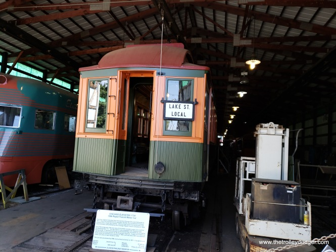 """Chicago elevated car 1754 was built in 1906 for the Northwestern """"L"""". It was the last wooden motor car used by the CTA and was retired in 1970."""