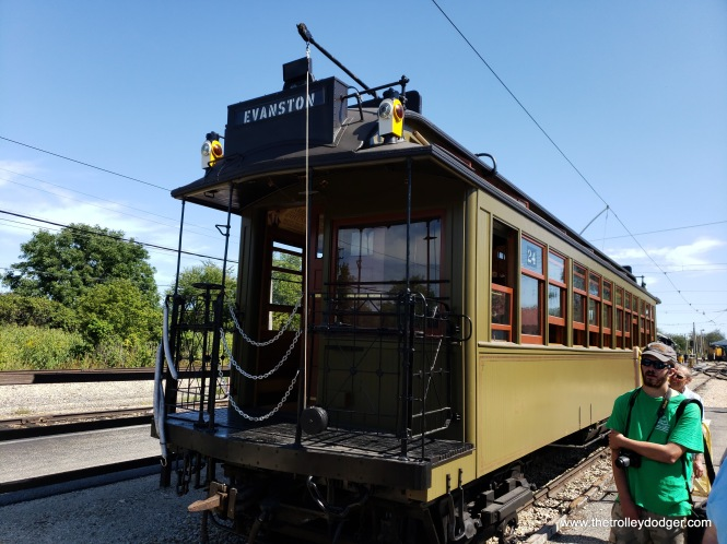 "Northwestern ""L"" car 24 is the only surviving gate car from the Chicago system, and is IRM's latest restoration. I don't have a picture of it, but it has sideways seating, somewhat like the CTA's 5000-series cars. It was built in 1898, and is the museum's oldest operating piece of equipment."