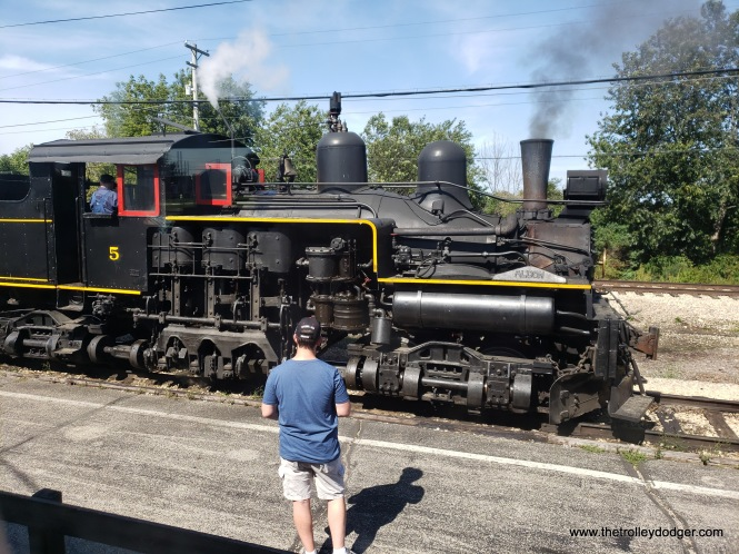 Shay steam engine #5, from the J. Neils Lumber Company, was designed to haul heavy freight trains up hills.