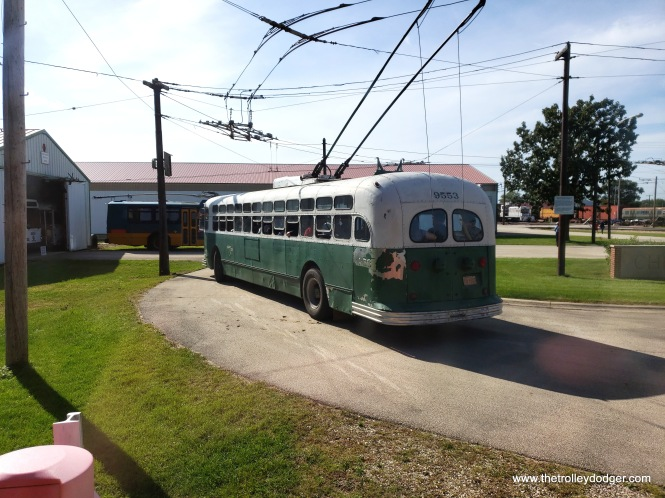 Chicago Transit Authority trolley bus 9553 was built by Marmon-Herrington in 1951 and operated until 1973. IRM is one of the few museums that can operate a trolley bus.