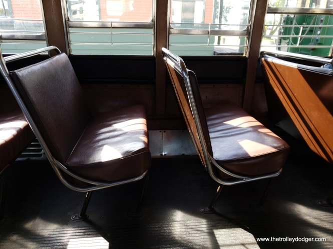 If these PCC streetcar seats look familiar, it is because they were some of the parts recycled onto 570 CTA rapid transit cars in the 1950s.