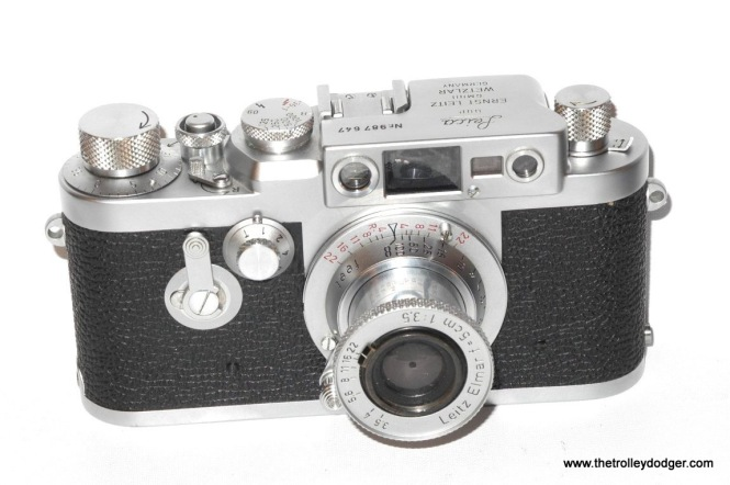 A Leica IIIg camera,. The last Leica to use screw-mount lenses, this model was introduced in 1957.