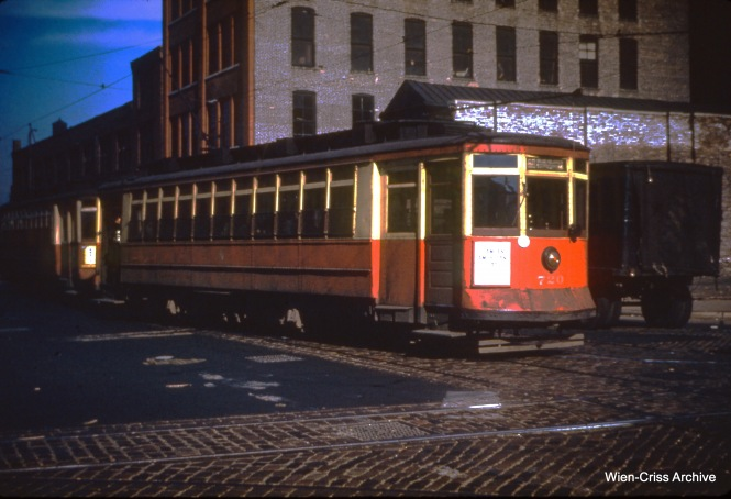 CTA 720 at Blue Island and Harrison on May 16, 1950.