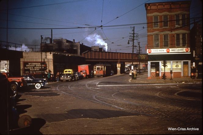 CTA 709 at 26th, Blue Island, and Western on May 16, 1950.