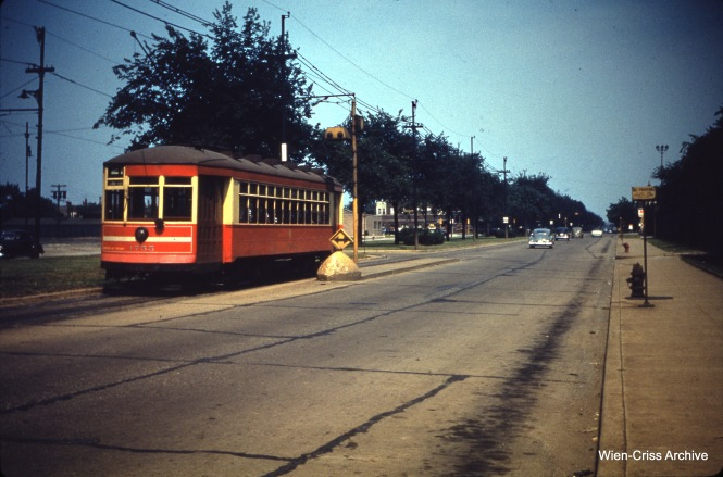 CTA 1755 on Cermak at the Belt Railway on July 9, 1950.
