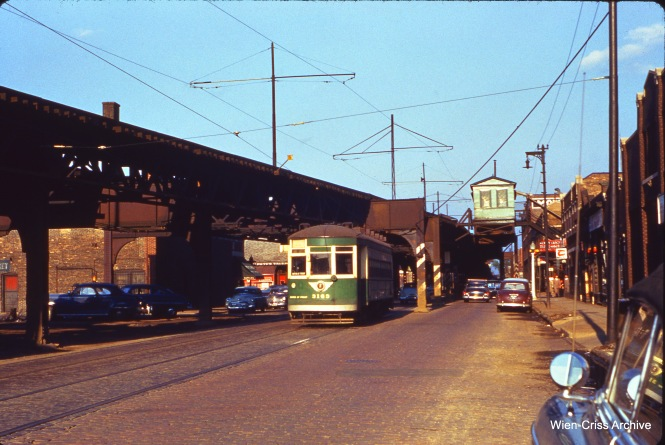 """CTA 3163 on Lake Street just west of Laramie May 9, 1954. Nearby, the Lake Street """"L"""" descended a ramp, and then ran at ground level all the way to the end of the line in Forest Park, just west of Harlem Avenue."""