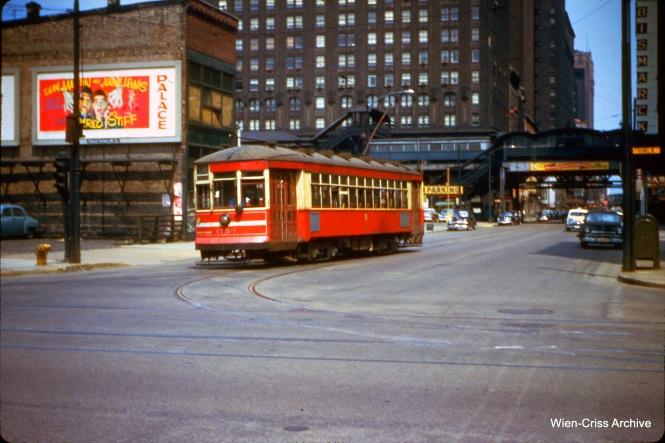 CTA one-man car 1759 at Randolph and Franklin on June 14, 1953.