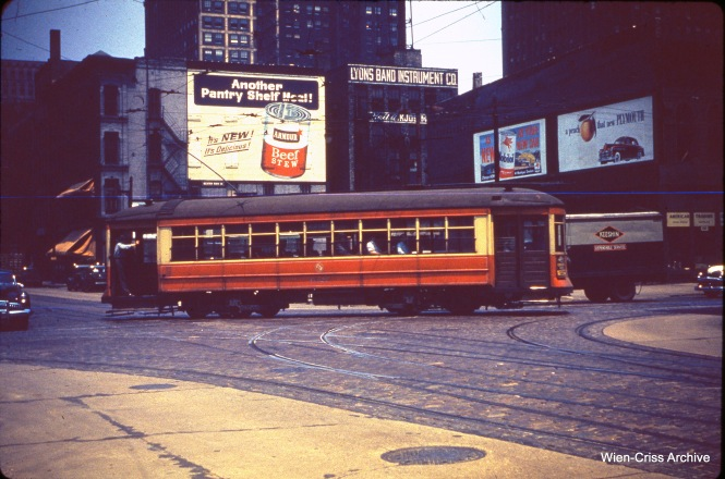 CTA 1627 at Randolph and Franklin on June 30, 1949.