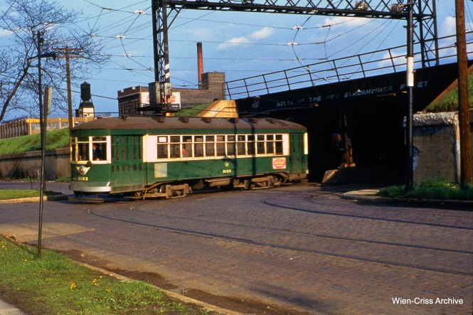 CTA 3163 at Lake and Pine (on the north side of the Chicago & North Western viaduct) on May 9, 1954. My understanding is the tracks are finally being removed under this viaduct, 65 years after the end of streetcar service.