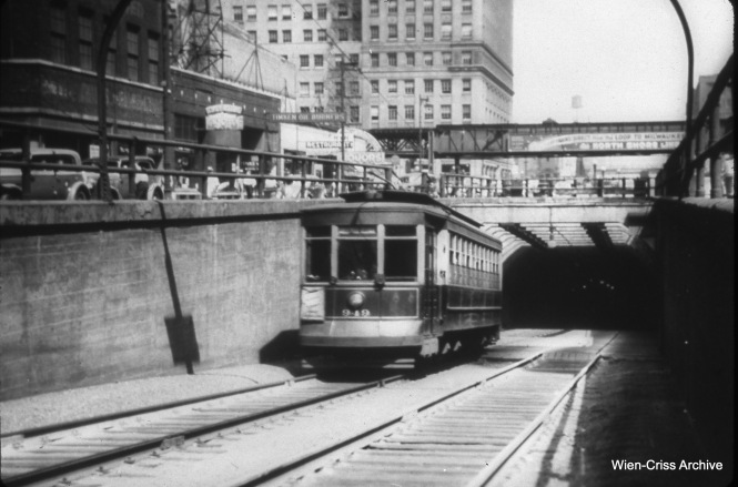 CSL 949 is southbound, coming out of the LaSalle Street tunnel under the Chicago River on September 6, 1939.