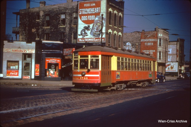 CTA one-man car 1746 is on Ogden at Van Buren on October 29, 1950.