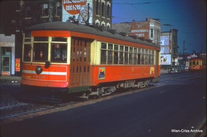 CTA one-man car 1767 is on Ogden at Van Buren on October 29, 1950.