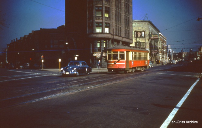 CTA 1724 is on Ogden at Ashland Boulevard on October 29, 1950.