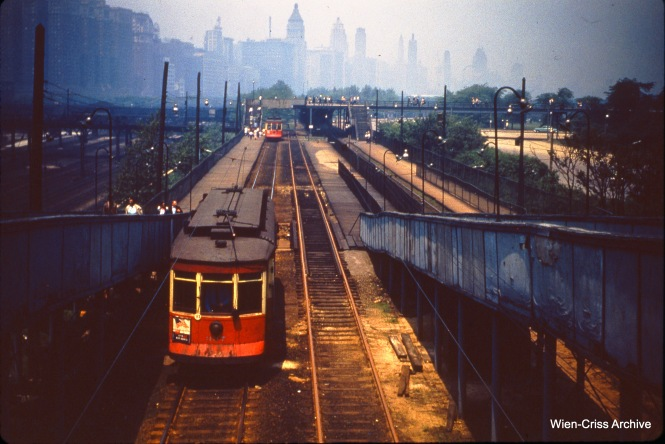 CTA 337 on the Museum Loop on May 30, 1951. This was an extension of the Roosevelt Road streetcar line, built for the 1933-34 World's Fair, and served the Field Museum and Soldier Field.