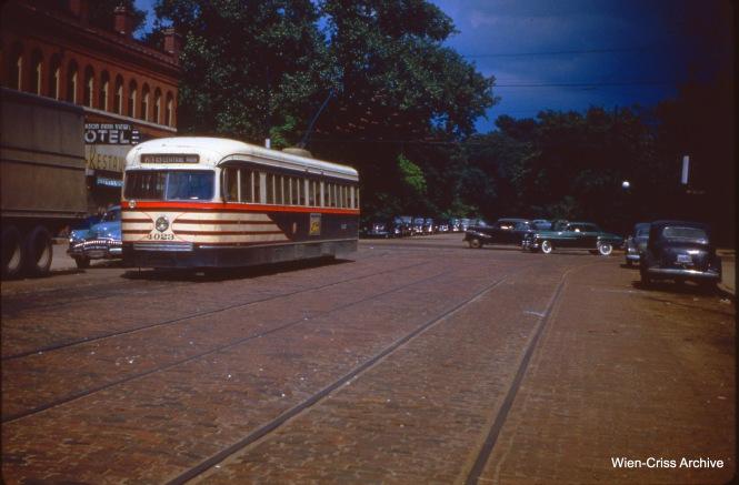 CTA 4023 on 64th and Stony Island on July 1, 1951.