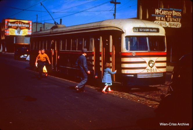 CTA 7011 at 63rd and Western on June 4, 1950.