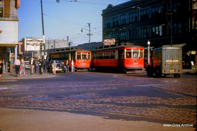 CTA 653 and 685 pass at 63rd and Western on May 20, 1953.