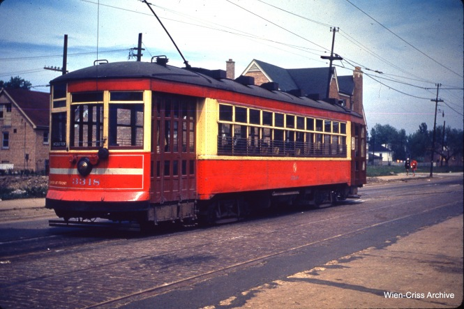 CTA one-man car 3318 at 71st and California on May 28, 1950.