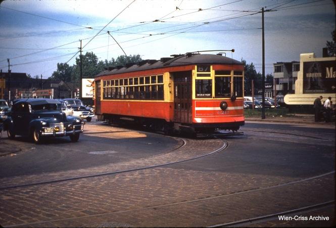 CTA one-man car 6217 at 71st and Western on May 28, 1950.