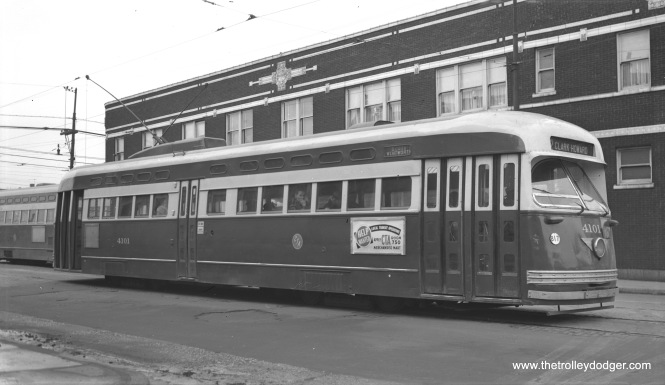 "There were many photos taken over the years at this location, 81st and Halsted, the south end of CTA Route 22 - Clark-Wentworth. What's special about this Bob Selle shot is the date-- January 2, 1954. There are not many pictures of Pullman PCCs from 1954, as they were the first casualties of the so-called PCC Conversion Program, whereby a total of 570 out of 600 Chicago PCCs were sent to the St. Louis Car Company, scrapped, and some of their parts were reused on a like number of ""L"" cars. Oddly enough, all the cars on this heavy line had to make a backup move in traffic. I am not sure why it couldn't have been advantageous to figure out a different arrangement, such as an off-street loop like other lines had."